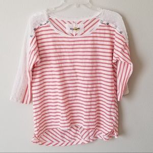 Anthropologie l little yellow button l striped